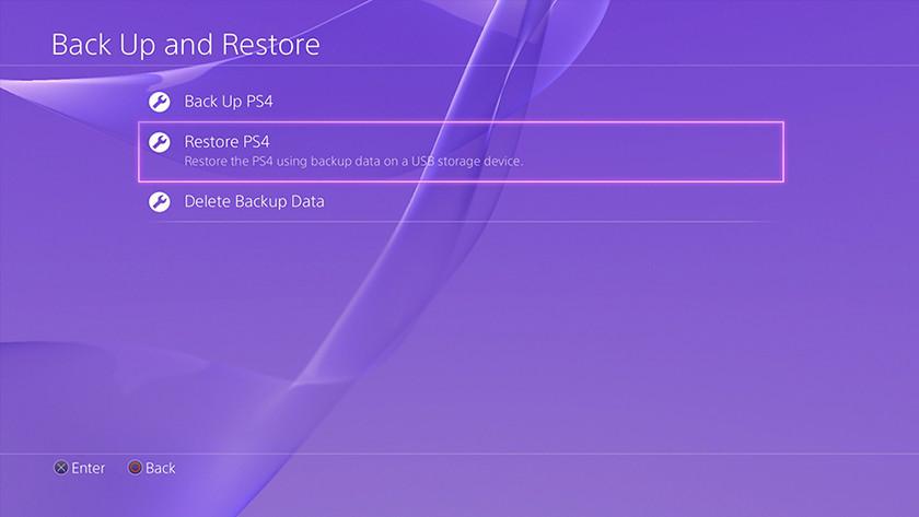 Restaurer back-up PS4