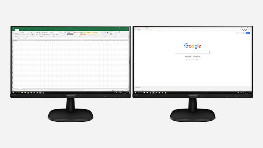 Travail à domicile multitâche 2 écrans PC