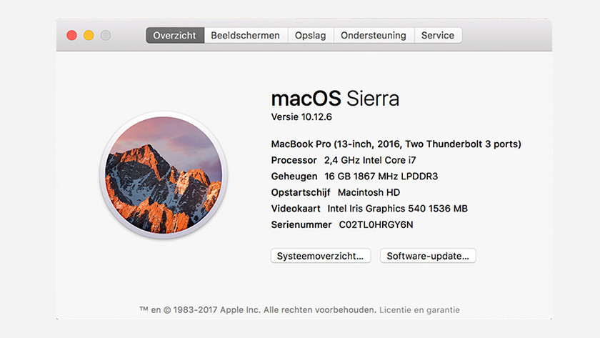Overview menu on macOS Sierra of the specifications of your MacBook.