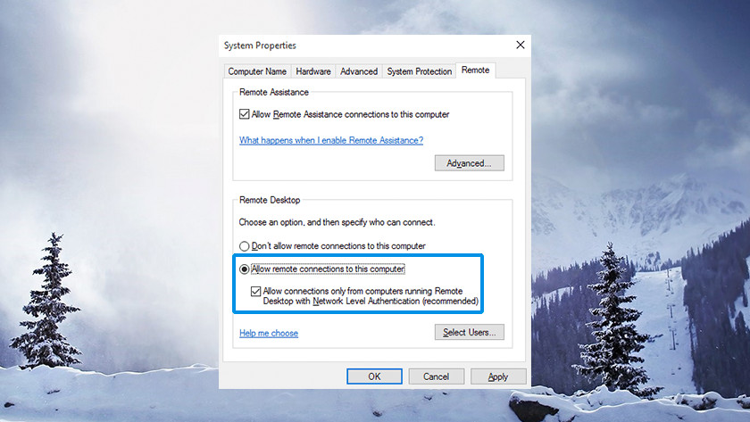 Remote Desktop instellingen in Windows.