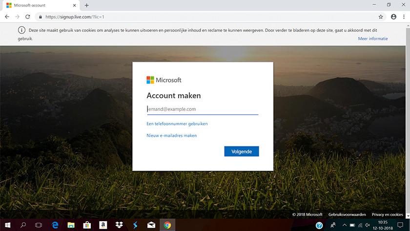 Écran initial pour la création d'un compte Microsoft.