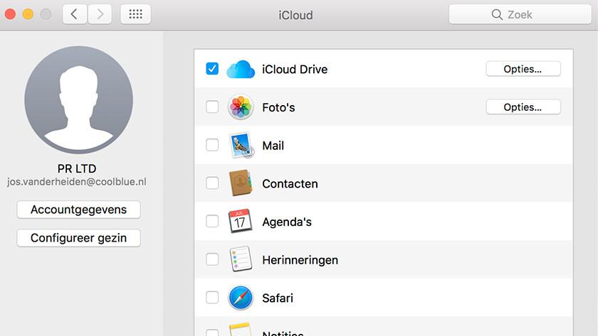 iCloud Drive selecteren