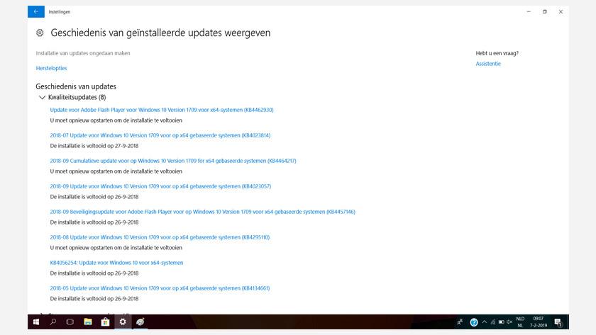 Kies voor 'installatie van updates ongedaan maken'