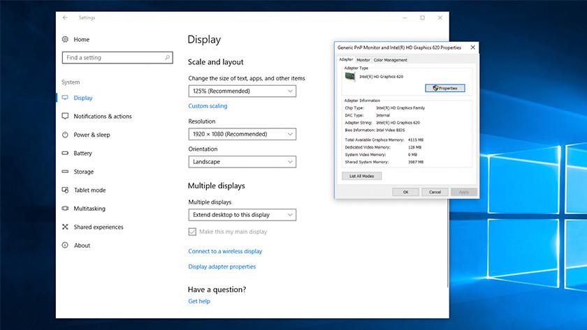 Screen settings in Windows.