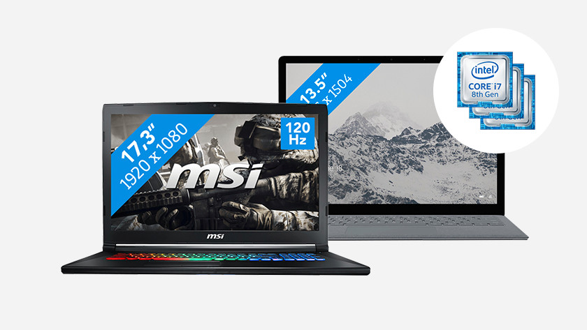 MSI laptop with RGB keyboard and Surface laptop. In the corner: icons of Intel Core processors.