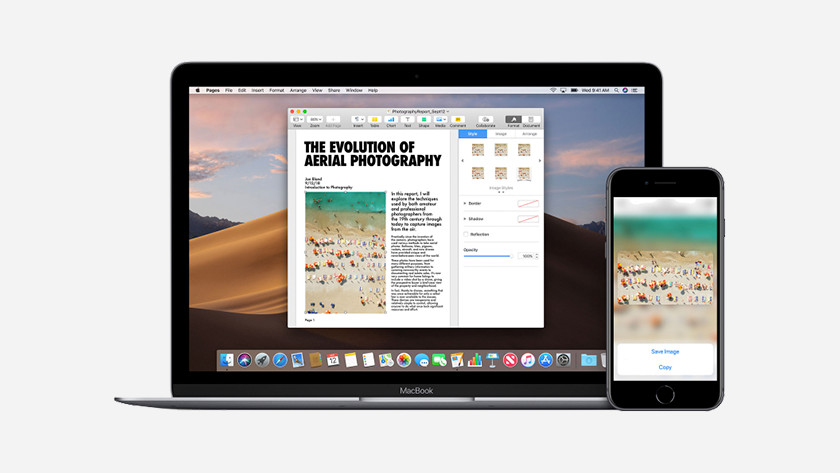 La fonction continuité sur l'iPad