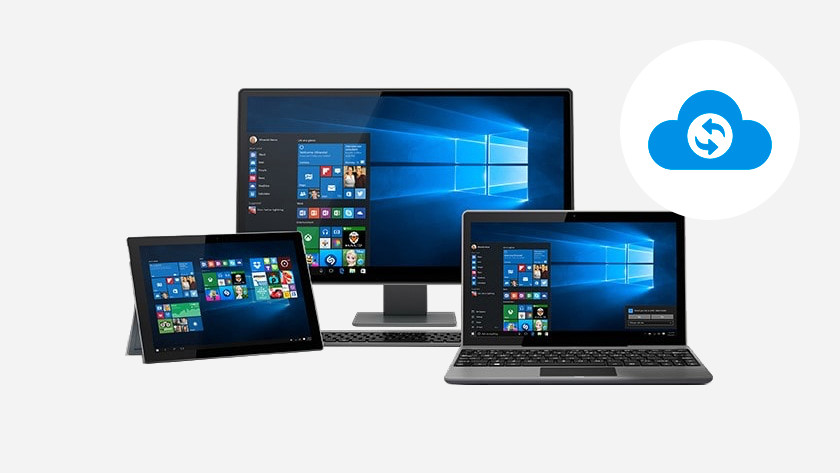 2-in-1 laptop, all-in-one PC, and laptop with Windows start menu. A cloud logo in the corner.