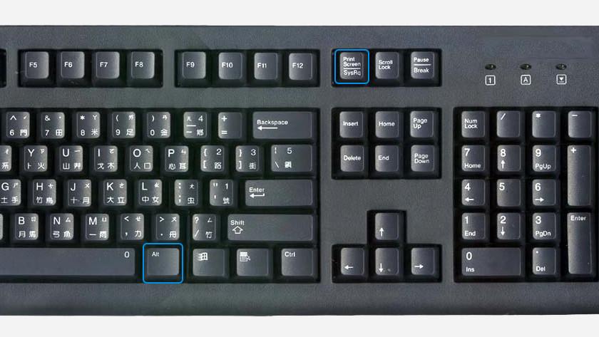 De altknop en screenshotknop uitgelicht op een toetsenbord.