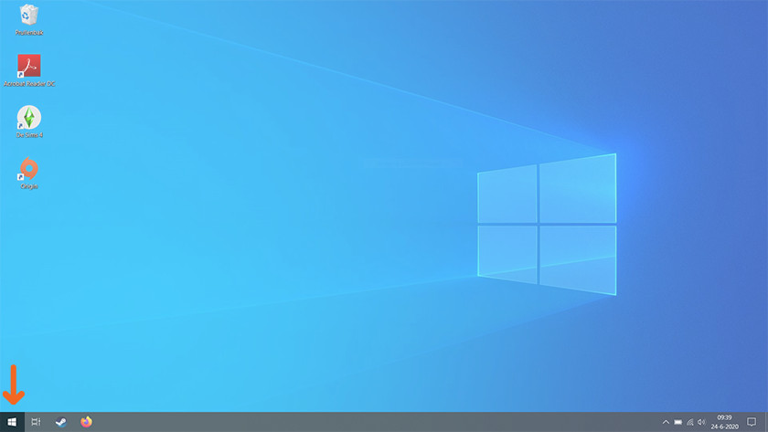 Start button Windows 10.