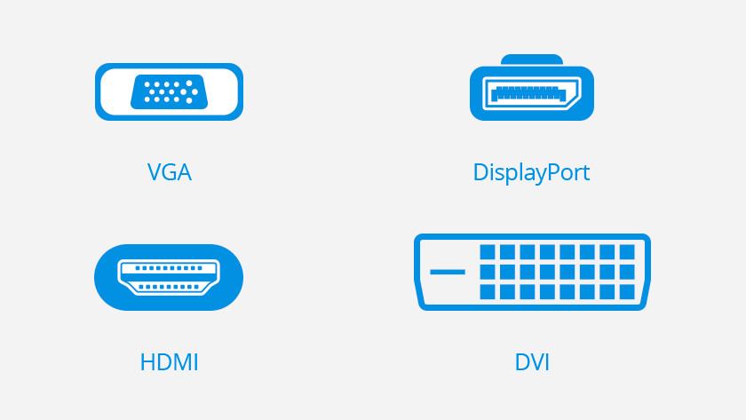 Icons of VGA, DisplayPort, HDMI, and DVI connection.