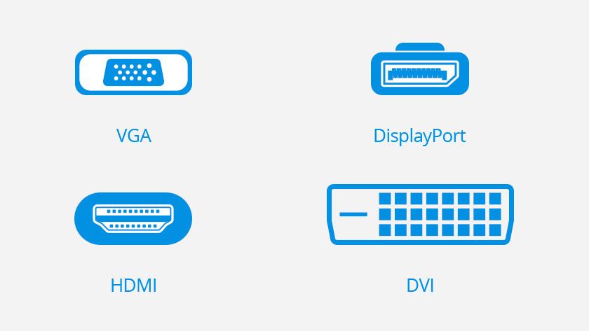 Icônes de connexion VGA, DisplayPort, HDMI et DVI.