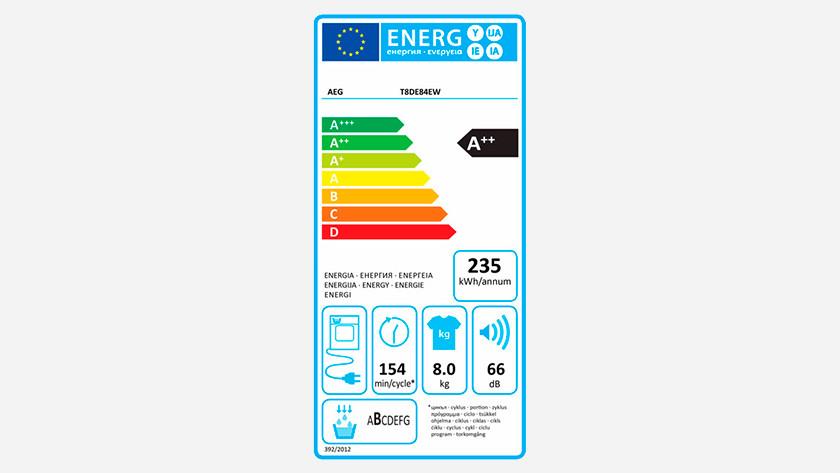 Energy label AEG 8000 dryer
