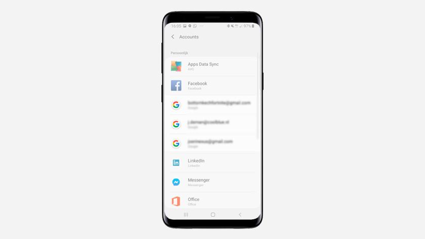 Kies het Google-account voor de back-up