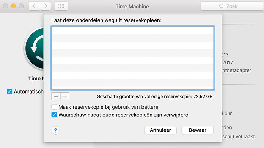 Désactiver Time Machine lors de l'utilisation de la batterie