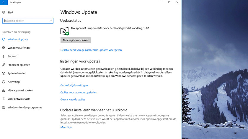 Windows Update in Windows 10 settings menu.