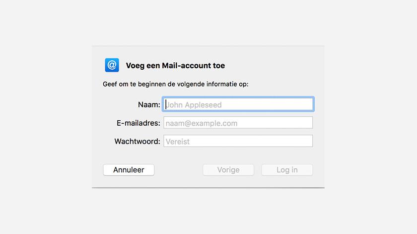 Apple Mail gegevens invoeren