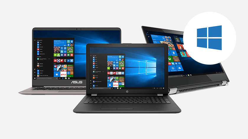 Trois ordinateurs portables Windows avec menu de démarrage Windows 10. Logo Windows dans un coin.
