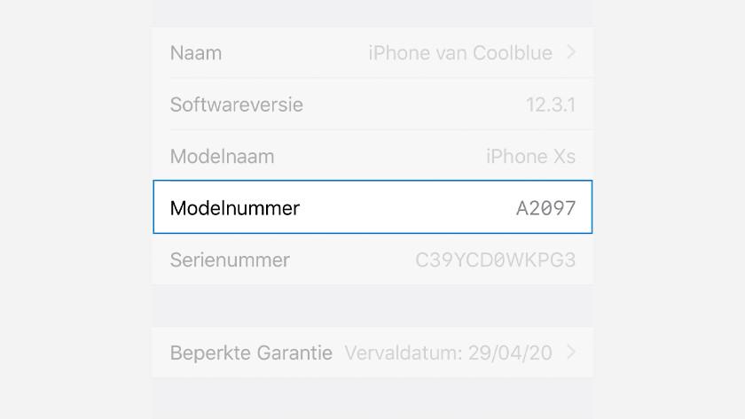 Modelnummer iPhone