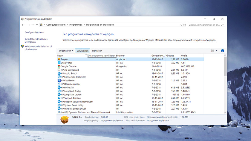 Remove programs and components from Windows.
