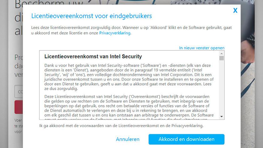 Contrat de licence de Intel Security.