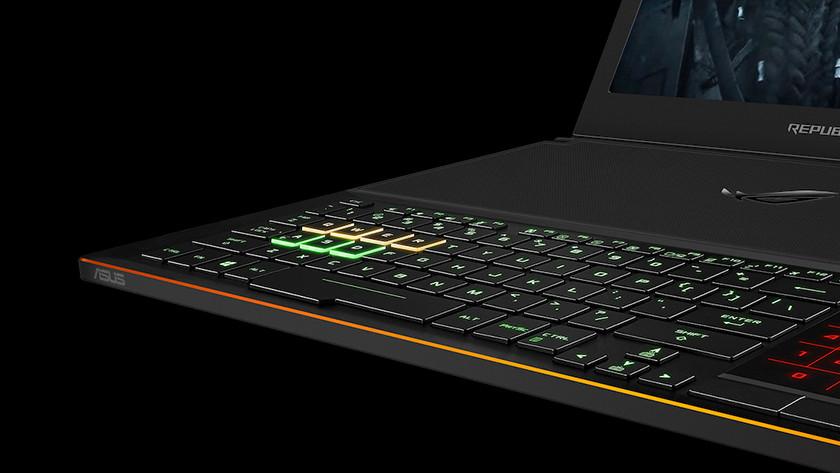 Gaming keyboard on Asus ROG laptop.