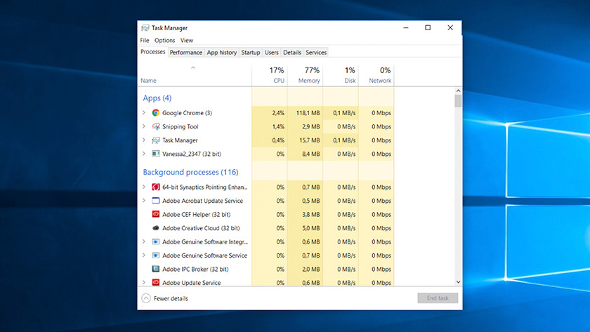 Task manager on Windows computer.