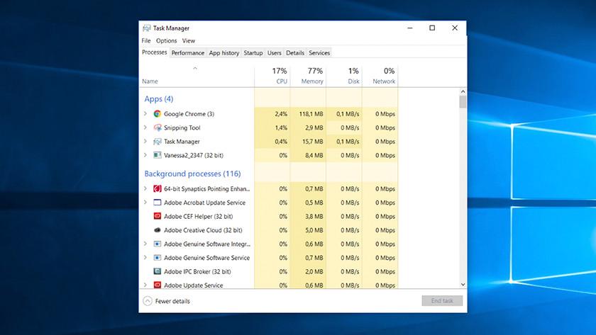 Gestionnaire des tâches sur un ordinateur Windows.