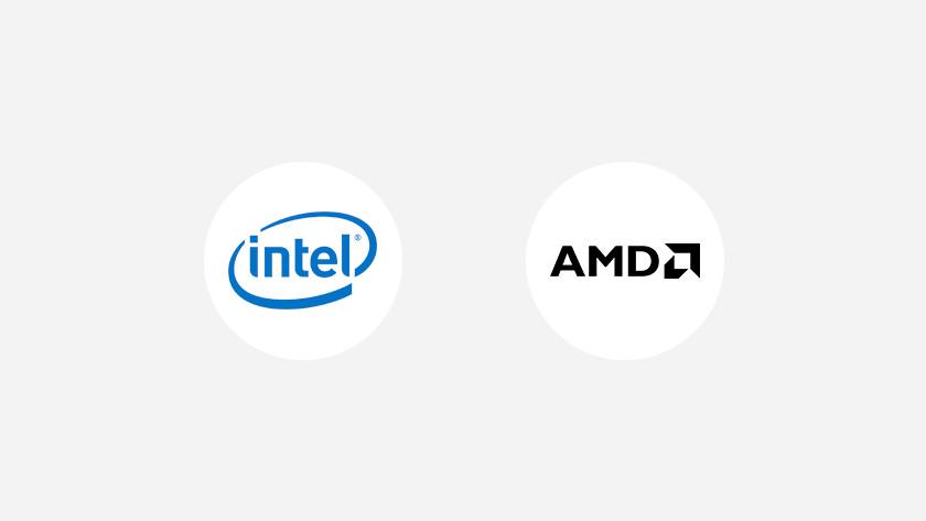 Logo Intel et logo AMD.