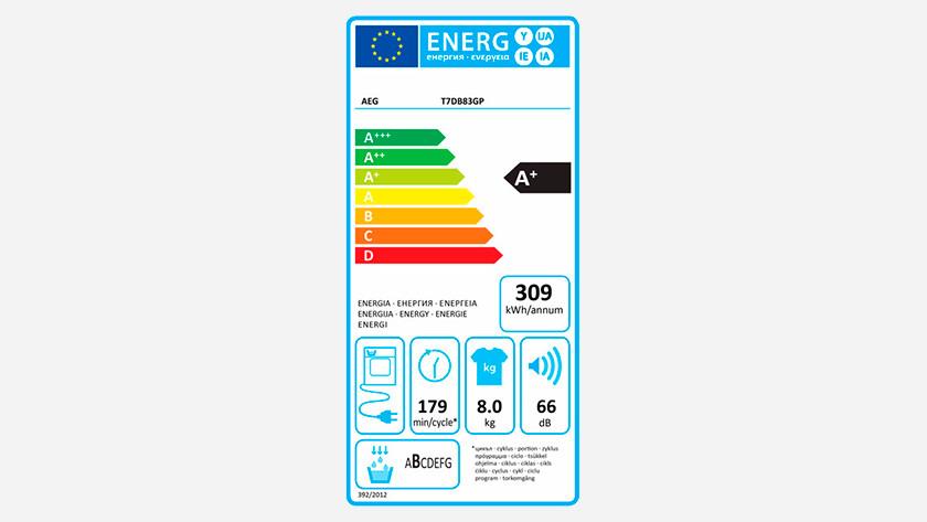 Energy label AEG 7000 dryer