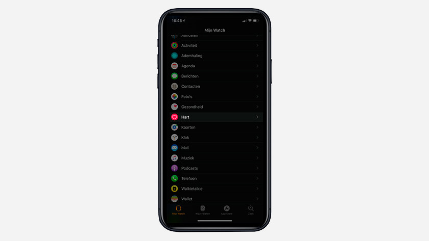 My Watch tabblad in de app