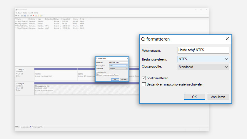 Format hard drive or SSD in Windows