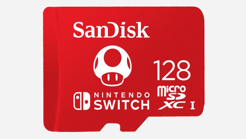 128 gigabyte SanDisk microSD kaart.