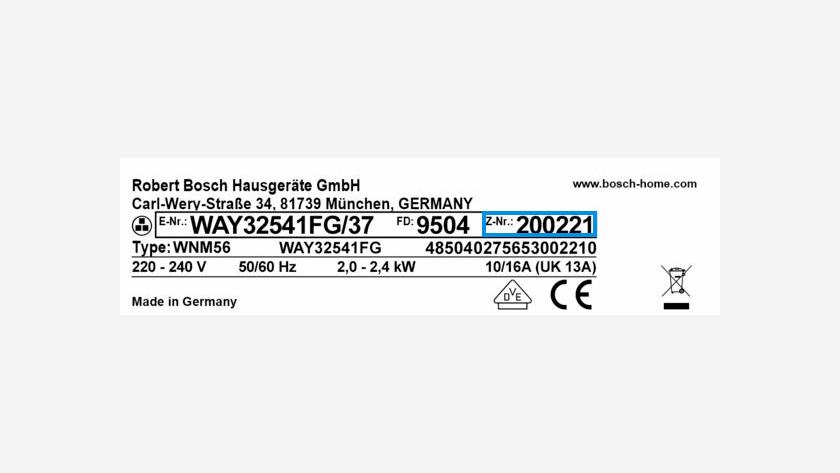 Bosch serial number