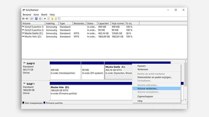 Réduire le volume dans la gestion des disques sur Windows