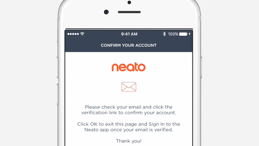 Bevestigen account Neato app