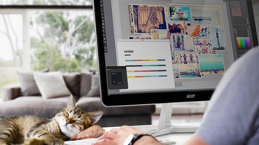 Grafisch ontwerper aan het werk op een 4K monitor, met een slapende kat.