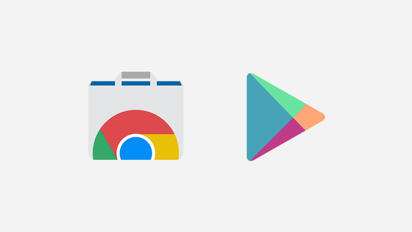 Icônes Chrome Web Store et Google Play Store.