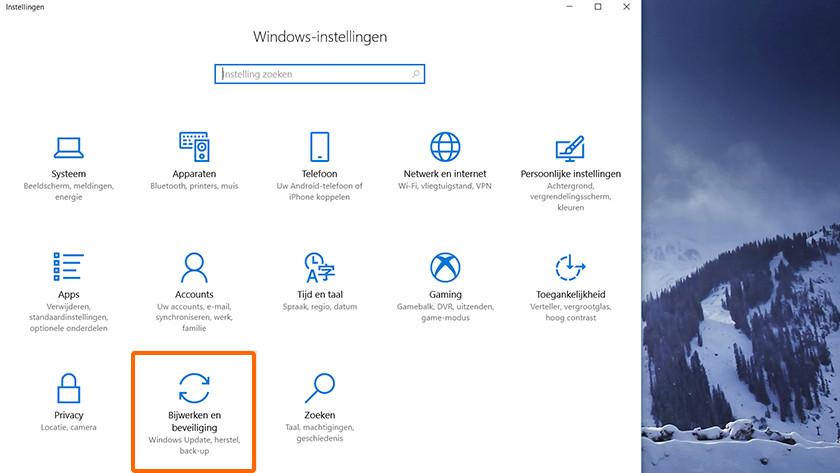 Update and settings in Windows 10 settings.