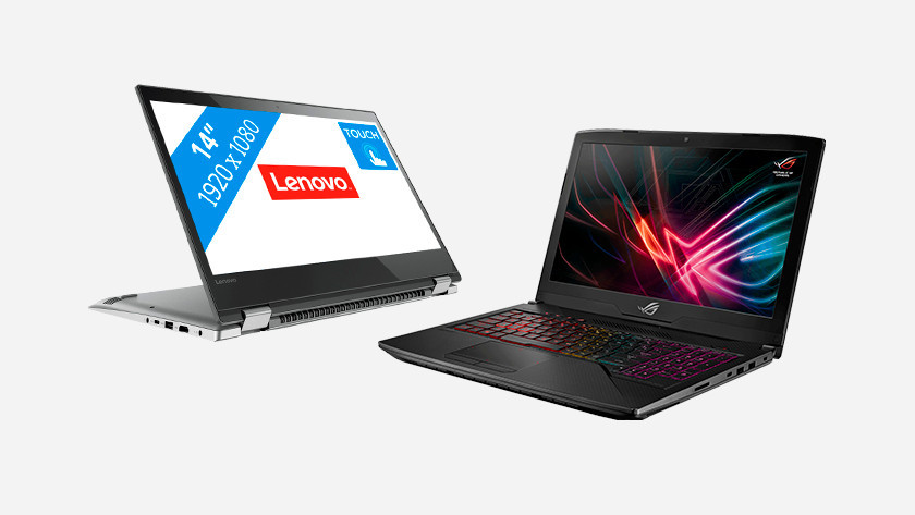A Lenovo and ROG laptop
