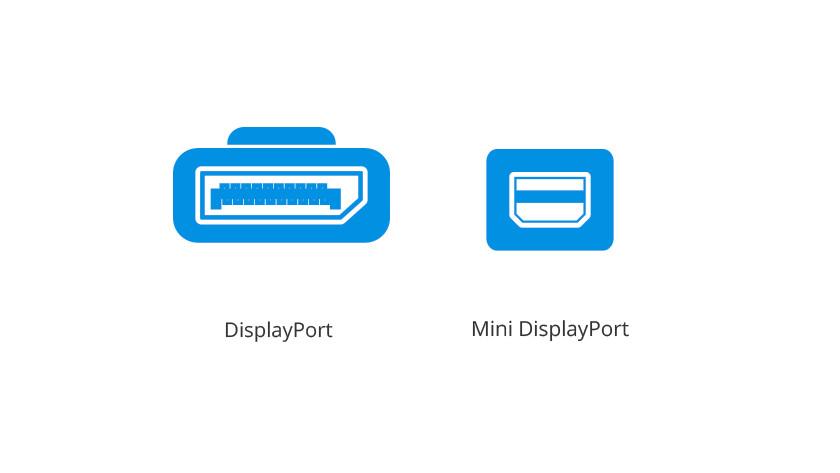 DisplayPort en Mini DisplayPort iconen.