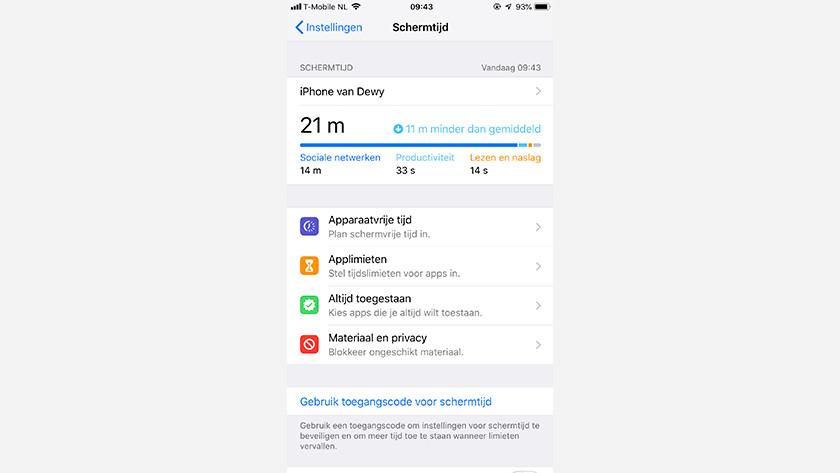 iOS Schermtijd