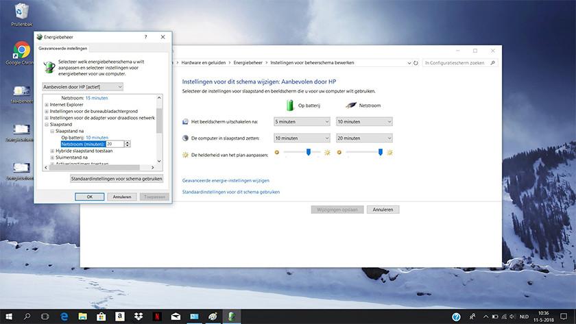 Change plan settings on a Windows 10 laptop.