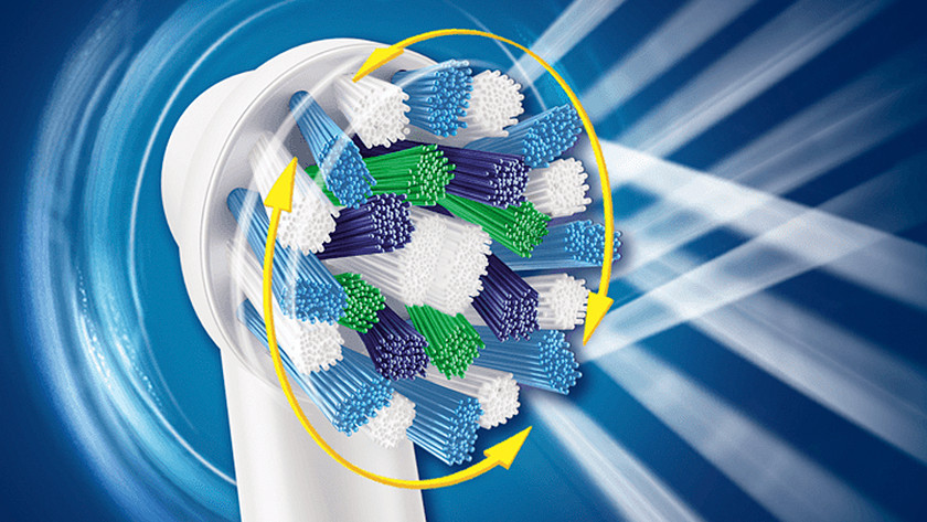 A rotating toothbrush's brushing motion