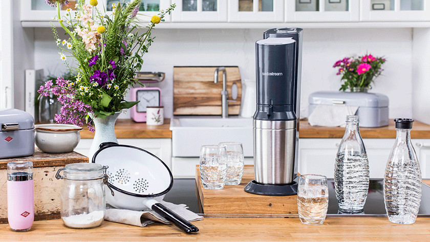 Gray SodaStream Crystal in kitchen