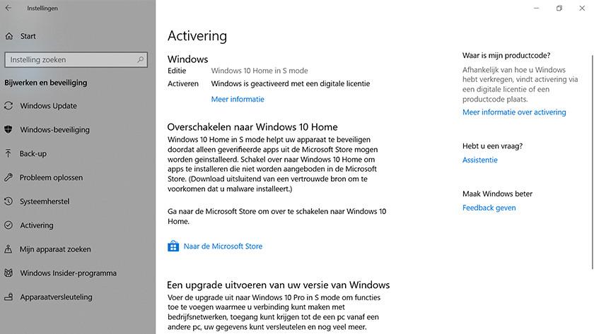 Als laatste klik je op naar de Microsoft Store