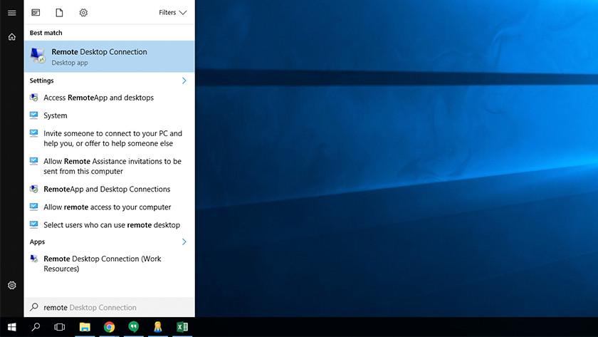 Remote Desktop applicatie in startmenu Windows.