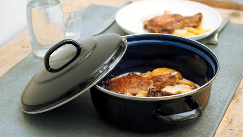 braadpan met kippenbout