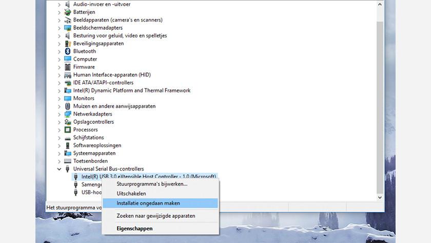 Installatie ongedaan maken van usb controllers in Windows 10.