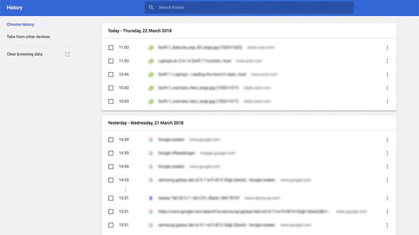 Google Chrome zoekgeschiedenis wissen.