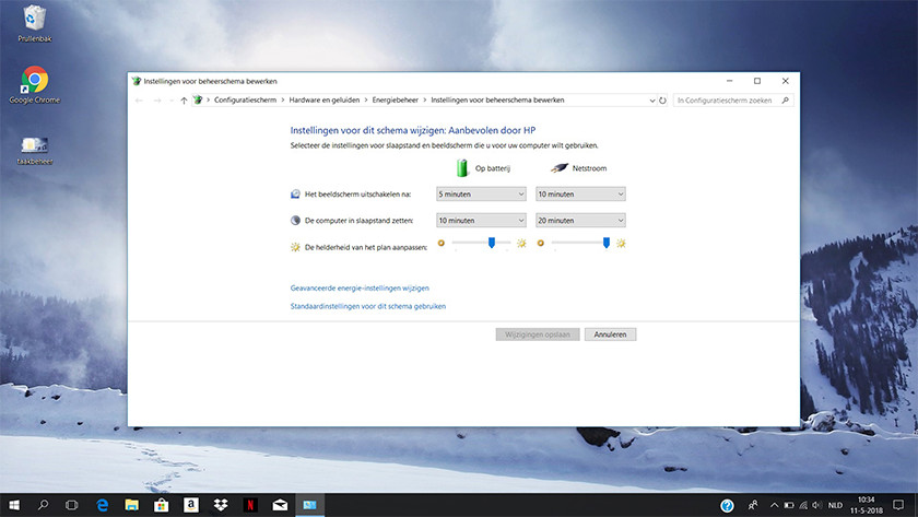 Energiebeheer op een Windows 10 laptop.